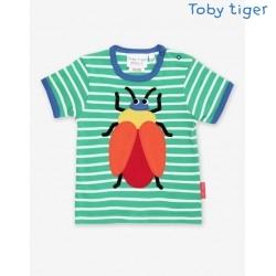 Toby tiger - Bio Kinder T-Shirt mit Käfer-Applikation und Streifen