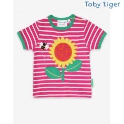 Toby tiger - Bio Kinder T-Shirt mit Sonnenblumen-Applikation und Streifen