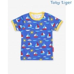 Toby tiger - Bio Kinder T-Shirt mit Boote-Allover