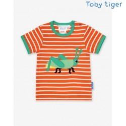 Toby tiger - Bio Kinder T-Shirt mit Grashüpfer-Applikation und Streifen