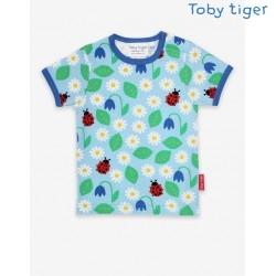 Toby tiger - Bio Kinder T-Shirt mit Gänseblümchen-Allover