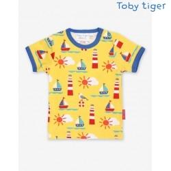 Toby tiger - Bio Kinder T-Shirt mit Strand-Allover