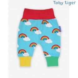 Toby tiger - Bio Baby Jerseyhose mit Regenbogen-Allover
