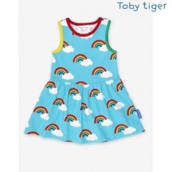 Toby tiger - Bio Kinder Jersey Kleid mit Regenbogen-Allover