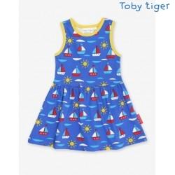 Toby tiger - Bio Kinder Jersey Kleid mit Boote-Allover