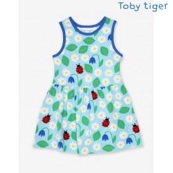 Toby tiger - Bio Kinder Jersey Kleid mit Gänseblümchen-Allover