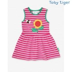 Toby tiger - Bio Kinder Jersey Kleid mit Sonnenblumen-Applikation und Streifen
