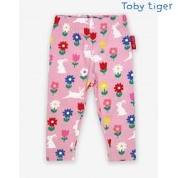 Toby tiger - Bio Kinder 3/4 Leggings mit Hasen-Allover
