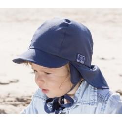 """PICKAPOOH - Bio Kinder Mütze """"Tom"""" mit Nackenschutz, marine, UV-Schutz 80"""