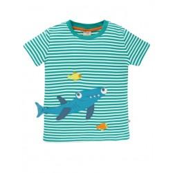 """frugi - Bio Kinder T-Shirt """"Joshua"""" mit Hai-Applikation und Streifen"""