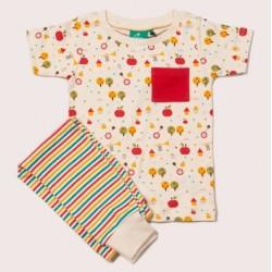 Little Green Radicals - Bio Kinder Set Shirt und Hose mit Apfelbaum-Allover und Streifen