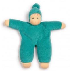 Nanchen Natur - Bio Baby Schmusepuppe 22cm, blau