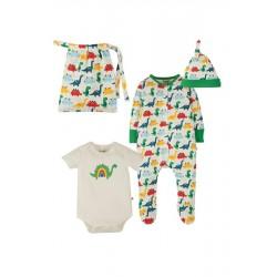 frugi - Bio Baby Set Strampler, Body und Mütze mit Dinosaurier-Motiv