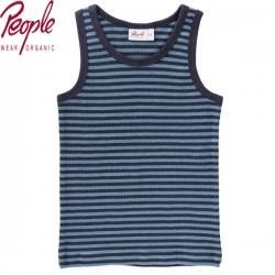 People Wear Organic - Bio Kinder Unterhemd mit Streifen, dunkelblau