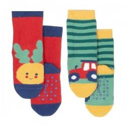 """kite kids - Bio Baby Stopper Socken mit Tier-Motiven """"Rübe und Traktor"""" 2er Pack"""