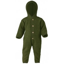 ENGEL - Bio Baby Fleece Overall mit Kapuze, Wolle, schilf