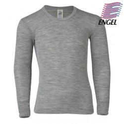 ENGEL - Bio Kinder Unterhemd langarm, Wolle/Seide, hellgrau