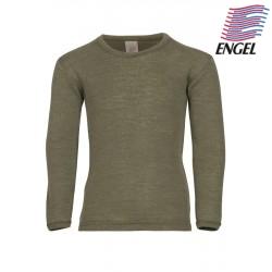 ENGEL - Bio Kinder Unterhemd langarm, Wolle/Seide, olive