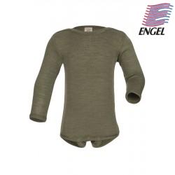 ENGEL - Bio Baby Body langarm, Wolle/Seide, olive