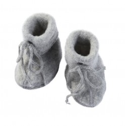 ENGEL - Bio Baby Fleece Schuhe, Wolle, grau
