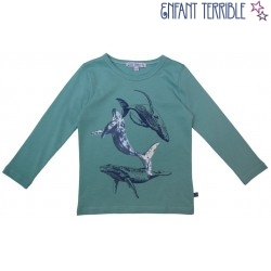 Enfant Terrible - Bio Kinder Langarmshirt mit Wale-Druck, ozean