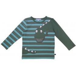Enfant Terrible - Bio Kinder Langarmshirt mit Dino-Applikation und Streifen