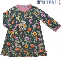 Enfant Terrible - Bio Kinder Sweatkleid mit Blumen-Allover, waldgrün