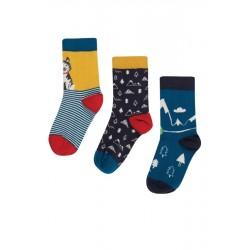 "frugi - Kinder Strümpfe 3er-Pack ""Rock my Socks"" mit Husky und Bergen"