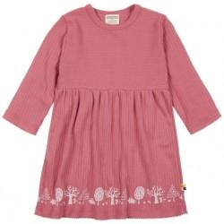 loud + proud - Bio Kinder Kleid Derby Rib mit Wald-Druck, mauve