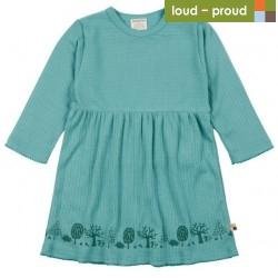 loud + proud - Bio Kinder Kleid Derby Rib mit Wald-Druck, oregano