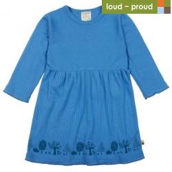 loud + proud - Bio Kinder Kleid Derby Rib mit Wald-Druck, indigo