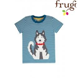 """frugi - Bio Kinder T-Shirt """"Sid"""" mit Husky-Applikation und Streifen"""
