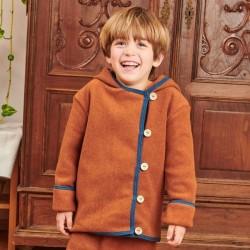 Cheeky Apple - Bio Kinder Fleece Jacke mit Knöpfen, braun