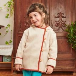 Cheeky Apple - Bio Kinder Fleece Jacke mit Knöpfen, nude meliert/rost