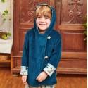 Cheeky Apple - Bio Kinder Wende Cord Jacke mit Knöpfen, blau und Krokodil-Allover