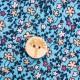 Cheeky Apple - Bio Kinder Wende Jacke mit Knöpfen, blau und Blumen-Allover
