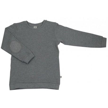 Leela Cotton - Bio Kinder Sweatshirt mit Waffelstruktur, grau-melange