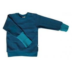 Leela Cotton - Bio Kinder Sweatshirt mit Waffelstruktur , donaublau