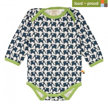 5d7d86660c76 loud + proud - Bio Baby Body langarm mit Elefanten-Druck ...