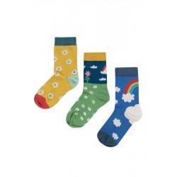 "frugi - Kinder Strümpfe 3er-Pack ""Rock my Socks"" mit Regenbogen und Blumen"