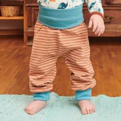 Cheeky Apple - Bio Kinder Jerseyhose mit Streifen, caramel