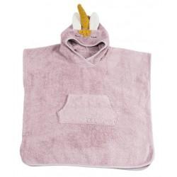 Kikadu - Bio Kinder Badeponcho Einhorn 65x62cm, rosa