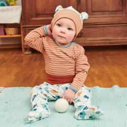 Cheeky Apple - Bio Baby Langarmshirt mit Streifen, braun
