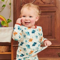 Cheeky Apple - Bio Baby Langarmshirt mit Babyelefanten-Allover