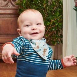 Cheeky Apple - Bio Baby Body langarm mit Streifen, blau