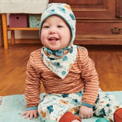 Cheeky Apple - Bio Baby Body langarm mit Streifen, caramel