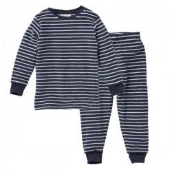 People Wear Organic - Bio Kinder Nicki Schlafanzug mit Streifen, blau