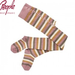 People Wear Organic - Bio Kinder Strumpfhose mit Streifen, rosa
