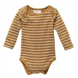 People Wear Organic - Bio Baby Body langarm mit Streifen, karamell