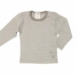 LIVING CRAFTS - Bio Baby Unterhemd langarm mit Streifen, Wolle/Seide, taupe